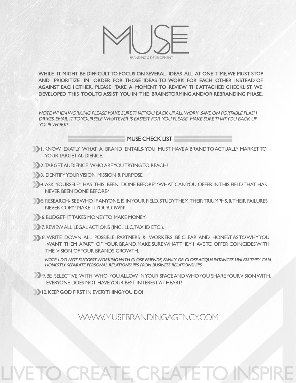 Muse Branding - Project Checklist